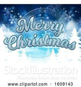 Vector Illustration of Merry Christmas Greeting with Silhouetted Evergreen Trees with Snowflakes by AtStockIllustration