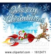 Vector Illustration of Merry Christmas Santa Rocket Sleigh Background by AtStockIllustration