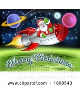 Vector Illustration of Merry Christmas Under a Reindeer Flying with Santa in a Rocket over in Outer Space by AtStockIllustration