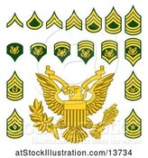 Vector Illustration of Military American Enlisted Rank Badges by AtStockIllustration