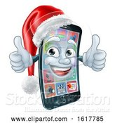 Vector Illustration of Mobile Cell Phone Christmas Mascot in Santa Hat by AtStockIllustration