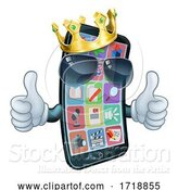 Vector Illustration of Mobile Phone Cool King Thumbs up Mascot by AtStockIllustration