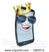 Vector Illustration of Mobile Phone Cool Shades King Crown Mascot by AtStockIllustration