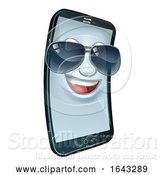 Vector Illustration of Mobile Phone Cool Shades Mascot by AtStockIllustration