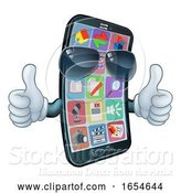 Vector Illustration of Mobile Phone Cool Shades Thumbs up Mascot by AtStockIllustration