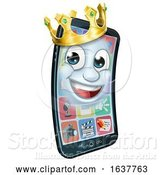 Vector Illustration of Mobile Phone King Crown Mascot by AtStockIllustration