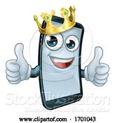 Vector Illustration of Mobile Phone King Crown Thumbs up Mascot by AtStockIllustration