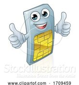 Vector Illustration of Mobile Phone Sim Card Mascot by AtStockIllustration