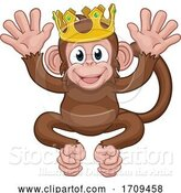 Vector Illustration of Monkey King Crown Animal Mascot Waving by AtStockIllustration