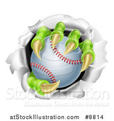 Vector Illustration of Monster Claws Holding a Baseball and Ripping Through a Wall by AtStockIllustration