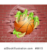 Vector Illustration of Monster Claws Holding a Basketball and Breaking Through a Brick Wall by AtStockIllustration