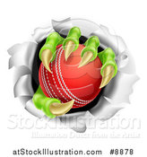 Vector Illustration of Monster Claws Holding a Cricket Ball and Ripping Through a Wall by AtStockIllustration