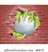 Vector Illustration of Monster Claws Holding a Golf Ball and Breaking Through a Brick Wall by AtStockIllustration