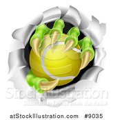 Vector Illustration of Monster Claws Holding a Tennis Ball and Ripping Through a Wall by AtStockIllustration