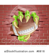 Vector Illustration of Monster Claws Holding an American Football and Breaking Through a Brick Wall by AtStockIllustration