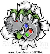 Vector Illustration of Monster Gamer Claws Holding Games Controller by AtStockIllustration