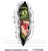 Vector Illustration of Monster Tearing a Rip Through the Background by AtStockIllustration