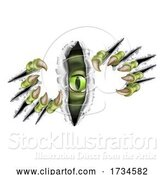Vector Illustration of Monster with Talon Claw Tearing a Rip Through Wall by AtStockIllustration