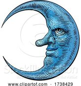 Vector Illustration of Moon Face Woodcut Drawing Retro Vintage Engraving by AtStockIllustration