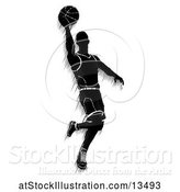 Vector Illustration of Motion Blur Styled Silhouetted Basketball Player in Action by AtStockIllustration