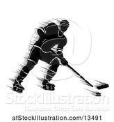 Vector Illustration of Motion Blur Styled Silhouetted Hockey Player in Action by AtStockIllustration