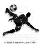 Vector Illustration of Motion Blur Styled Silhouetted Soccer Player in Action by AtStockIllustration