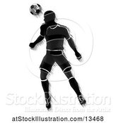 Vector Illustration of Motion Blurred Black Silhouetted Male Soccer Player Heading a Ball by AtStockIllustration