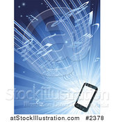 Vector Illustration of Music Streaming from a 3d Smart Cell Phone over Blue by AtStockIllustration