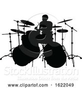 Vector Illustration of Musician Drummer Silhouette by AtStockIllustration