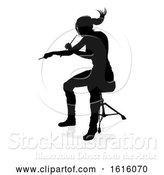 Vector Illustration of Musician Drummer Silhouette, on a White Background by AtStockIllustration