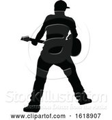 Vector Illustration of Musician Guitarist Silhouette by AtStockIllustration