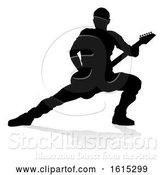 Vector Illustration of Musician Guitarist Silhouette, on a White Background by AtStockIllustration