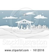 Vector Illustration of Nativity Christmas Paper Scene by AtStockIllustration