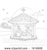 Vector Illustration of Nativity Christmas Scene Coloring by AtStockIllustration