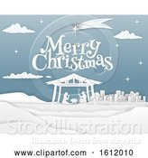 Vector Illustration of Nativity Merry Christmas Paper Scene by AtStockIllustration