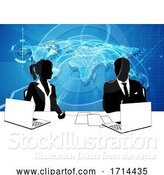 Vector Illustration of News Anchor Silhouette TV Reporter Presenters by AtStockIllustration