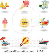 Vector Illustration of Nine Shiny Summer Travel Icons by AtStockIllustration