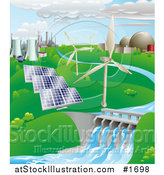 Vector Illustration of Nuclear, Fossil Fuel, Wind Power, Photovoltaic Cells, and Hydro Electric Water Power Generation Farms by AtStockIllustration