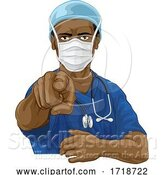 Vector Illustration of Nurse Doctor in PPE Mask Pointing Needs You by AtStockIllustration