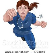 Vector Illustration of Nurse Doctor Lady Super Hero Medical Concept by AtStockIllustration