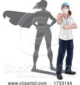Vector Illustration of Nurse Doctor Lady Super Hero Shadow Pointing by AtStockIllustration