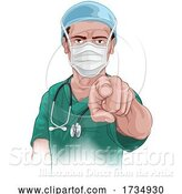 Vector Illustration of Nurse Doctor Pointing Your Country Needs You by AtStockIllustration