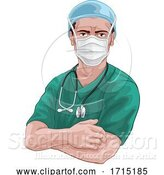 Vector Illustration of Nurse or Doctor in Scrubs and Surgical Mask PPE by AtStockIllustration