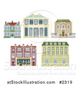 Vector Illustration of Old Fashioned Homes and Buildings by AtStockIllustration