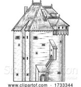 Vector Illustration of Old Medieval Castle Building Vintage Woodcut Style by AtStockIllustration
