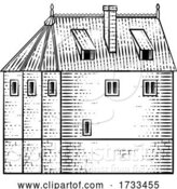 Vector Illustration of Old Medieval House Inn Building Vintage Woodcut by AtStockIllustration