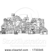 Vector Illustration of Old Medieval Town City Village Vintage Woodcut by AtStockIllustration