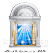 Vector Illustration of Open French Doors in a Marble Doorway with Blue Light by AtStockIllustration