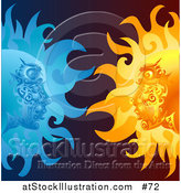 Vector Illustration of Opposites Attract, Faces in the Sun and Moon Staring at Eachother by AtStockIllustration