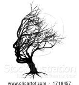 Vector Illustration of Optical Illusion Bare Tree Face Child Silhouette by AtStockIllustration